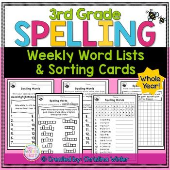3rd Grade Spelling Lists These weekly spelling word list activities can be used with any balanced literacy program. These word lists are intended for grade 3 but it could easily be used to enrich 2nd grade students or as an intervention with 4th graders. ****Save $ Buy the BUNDLE**** Year-Long Spelling Program