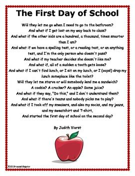 First Day of School Activity -  What if Poem. FREE!