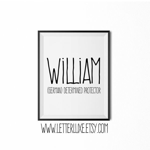 William Name Meaning Print, Printable Nursery Art, Baby Name Art | LetterLuxe Wooden Letters & Nursery Decor