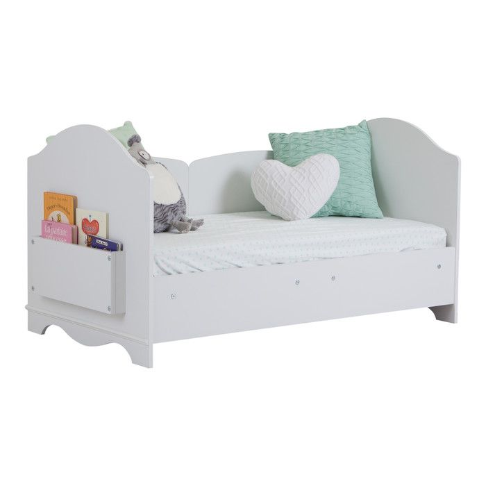 Features:  -Mattress and accessories not included.  -Savannah collection.  -Small storage bin for books, accessible from the foot of the bed.  -Use the panels as bed rails by installing one on each si