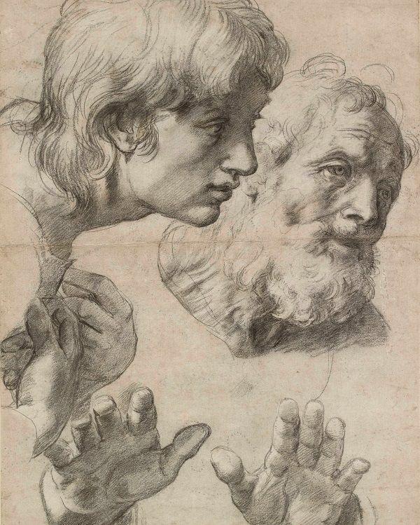 raphaël- raph 2  Têtes et mains de deux apôtres, vers 1520 © Ashmolean Museum