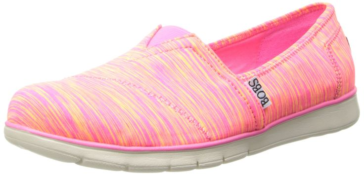 Skechers Women's Bobs Sport PureFlex Two Step Slip On Walking Shoe Hot Pink 9 M US. Two tone stretch jersey knit striped upper. Slip on casual comfort alpargata flat. Rounded plain toe front. Diagonal stitched seam front detail. Top elastic fabric panel for easy slip on.