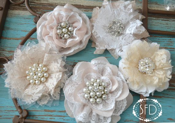 Brooch Flowers Set of 5 for DIY Bridal Bouquet - White Nude Tan - Lace Chiffon - Applique Wedding Decor - Ready to Ship - Shabby Chic