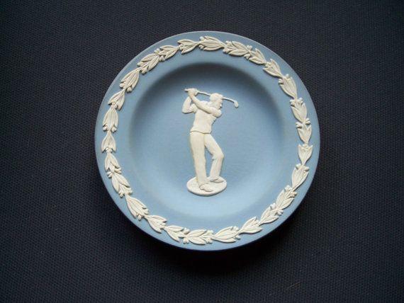 Wedgwood Blue Jasperware Golfer plate by AntiquesCabin on Etsy