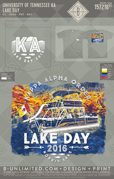 University of Tennessee KA Lake Day #BUnlimited #BUonYOU #CustomGreekApparel #GreekTShirts #Fraternity #Sorority #GreekLife #TShirts #Tanks #TShirtIdeas #KappaAlphaOrder #KA #TheOrder #LakeDay #Arrow #Lake #River #Boat #Fish #BidDay #RushTrip #Rush #SpringBreak #Function #Flag