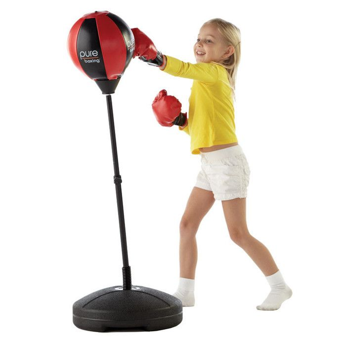 Pure Fitness Punch and Play Kids Boxing Set with Boxing Gloves Air Pump and Free-Standing Height Adjustable Punching Bag