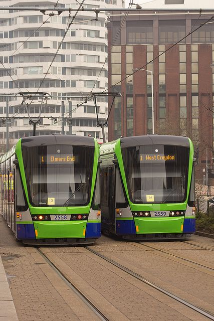 London Tramlink trams in Croydon these are the newer trams.