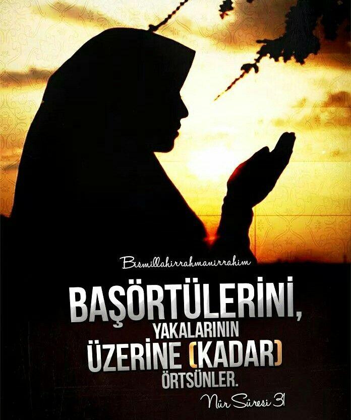 ☝ Mü'min kadınlara da söyle, gözlerini haramdan sakınsınlar, ırzlarını korusunlar. (Yüz ve el gibi) görünen kısımlar müstesna, zînet (yer)lerini göstermesinler. Başörtülerini, yakalarının üzerine (kadar) örtsünler... [Nûr Sûresi, 31. Ayet Meali]  #kadın #göz #haram #ırz #zînet #başörtüsü #tesettür #âyet #emir #islam #müslüman #ilmisuffa