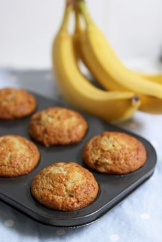 Delicious one-bowl banana muffins. Less than ten minutes from start to oven! | Tried it, made a half-batch which filled 12 mini muffins. Very good!