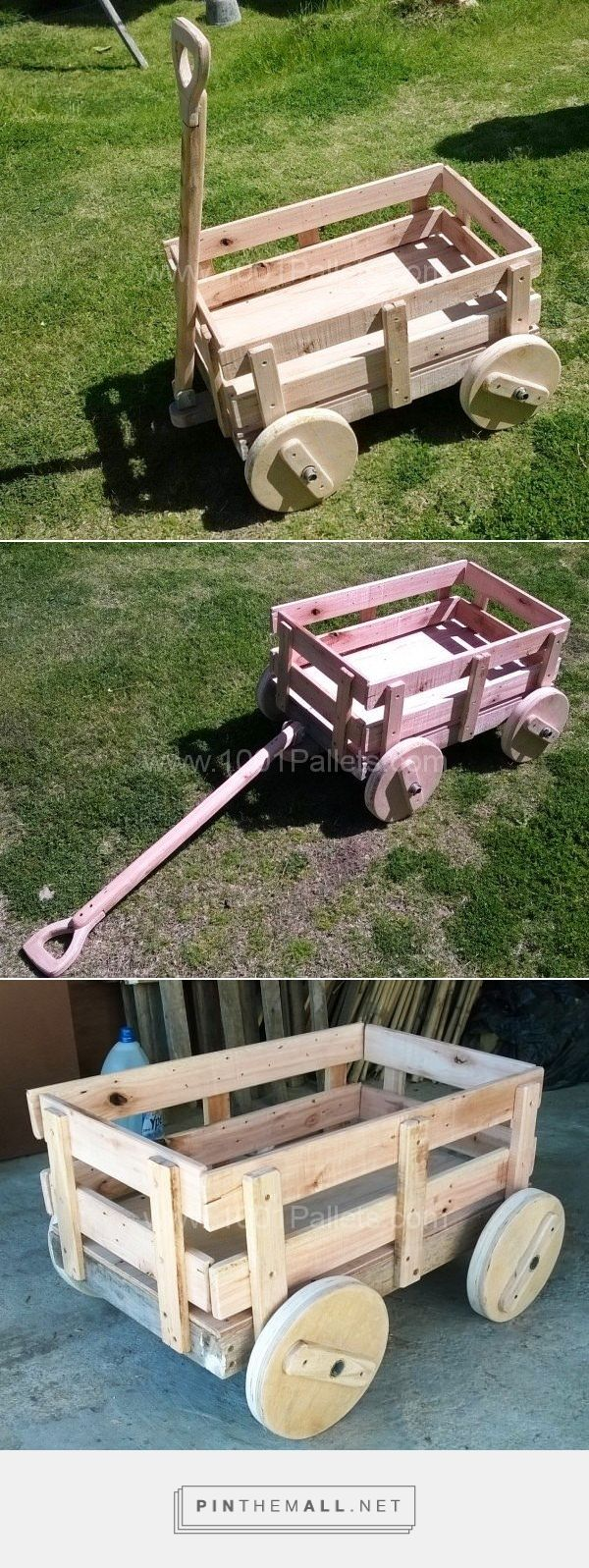 1001 pallets pallet kids playground here is a home made playground - It Is A Cart For Playground Made With Pallet Wood Axes Iron Pipe And Wooden Wheels