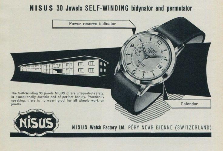 Nisus Watch Ad Advert Vintage 1957 Swiss Magazine Ad Suisse Switzerland Suiza | eBay
