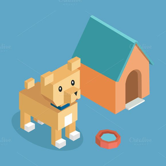 Pets Dog Icon Isometric 3d Design by robuart on @creativemarket