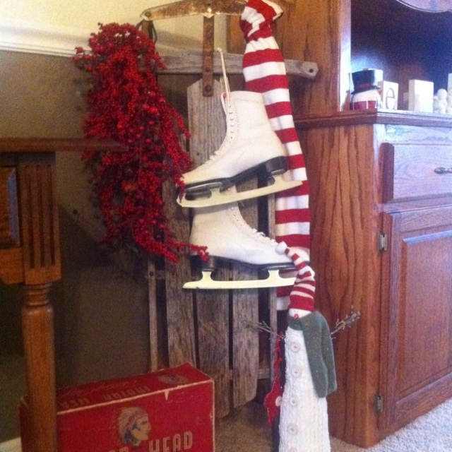 Vintage sled and skates as a christmas decoration for Antique sled decoration