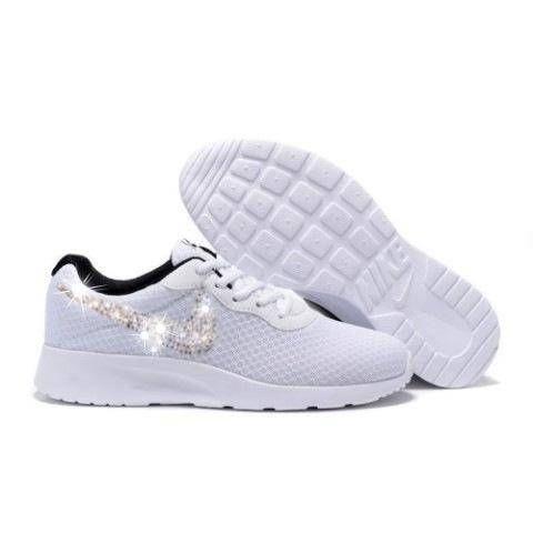 separation shoes dc4b1 21891 Swarovski Nike Shoes Women s White Nike Tanjun Customized