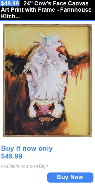 Art Paintings Mixed Media Collage: 24 Cows Face Canvas Art Print With Frame - Farmhouse Kitchen Decor Picture BUY IT NOW ONLY: $49.99