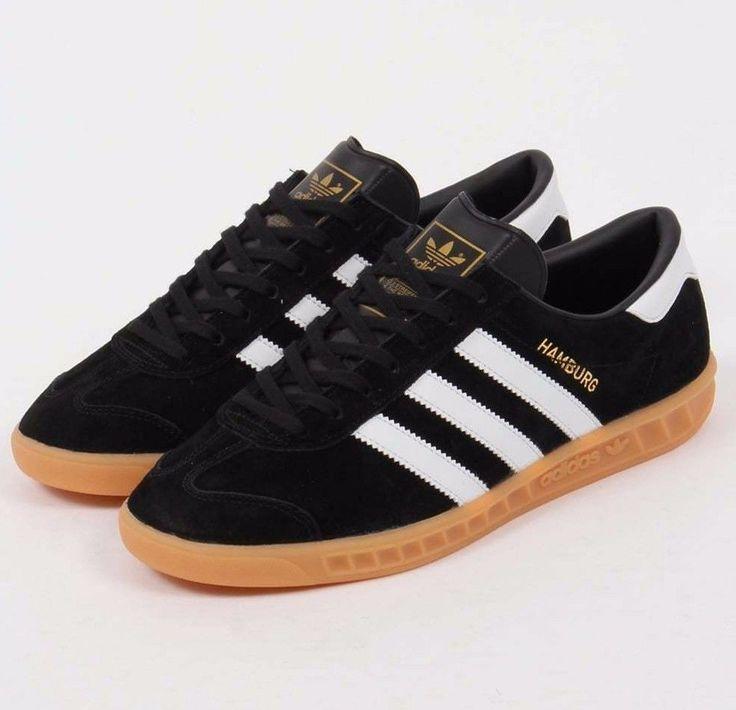 Mens Adidas Originals Hamburg Suede Shoes Black Gum S76696 Size 11