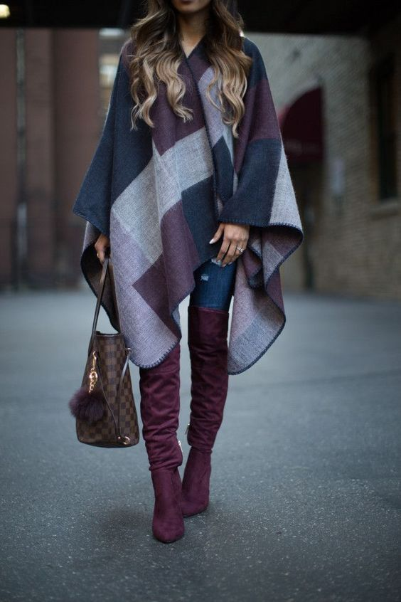 poncho cardigan and over the knee boots with denim