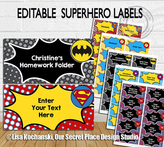 Superhero Labels Superhero Classroom Superhero Food Labels Superhero Tags Superhero Party Superhero Birthday Party by OurSecretPlace Personalize Your Own Messages with editable text fields and then print yourself from your home computer