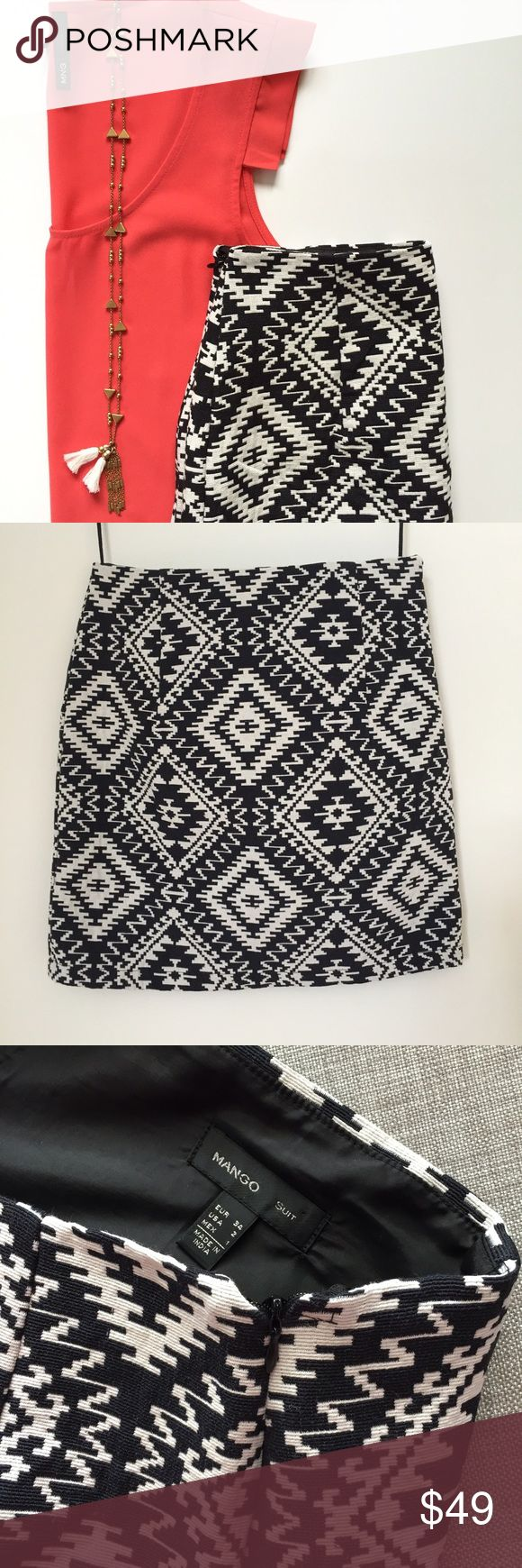 """🆕 Mango Aztec Skirt BRAND NEW Mango Skirt. Textured Aztec design with front and back pleats. Black and white. Fully lined. Hidden side zipper. 47% cotton, 42% Polyester, 7% Viscose, 2% Acrylic, 2% Polyamide. Lining 100% Polyester. Waist 13.5"""", length 17"""". Bought in Europe, excellent condition. Mango Skirts Mini"""