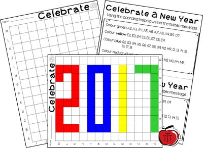 Free New Years mystery grid activity for 2017! Perfect for Grades 2-5. Created by TchrBrowne / Terri's Teaching Treasures