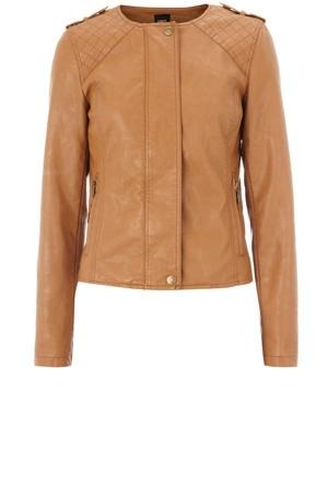 Oasis Shop | Tan Faux Leather Biker Jacket | Womens Fashion Clothing | Oasis Stores UK - StyleSays