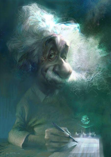 """CARICATURAS DE FAMOSOS: """"Albert Einstein"""" por Xi Ding"""