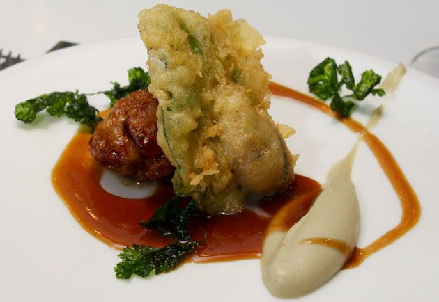 Chef Alvin Leung. Sweetbread, fried served with deep fried oyster, sweet and sour sauce.