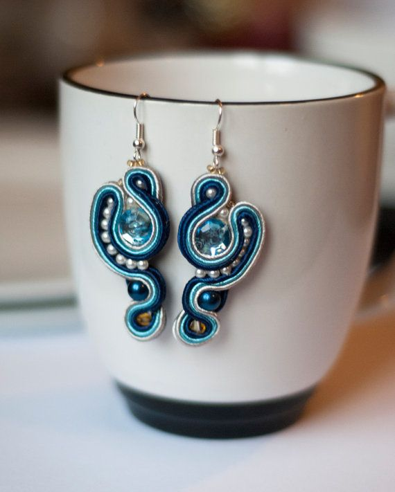 soutache earrings - blue and white
