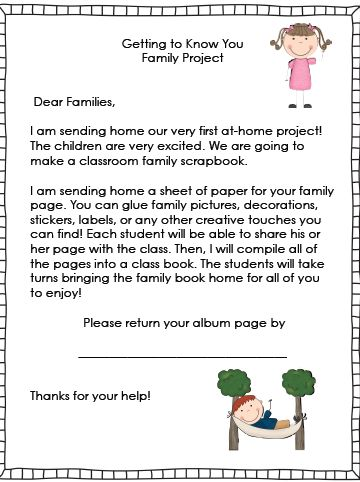 Take home projects for kindergarten