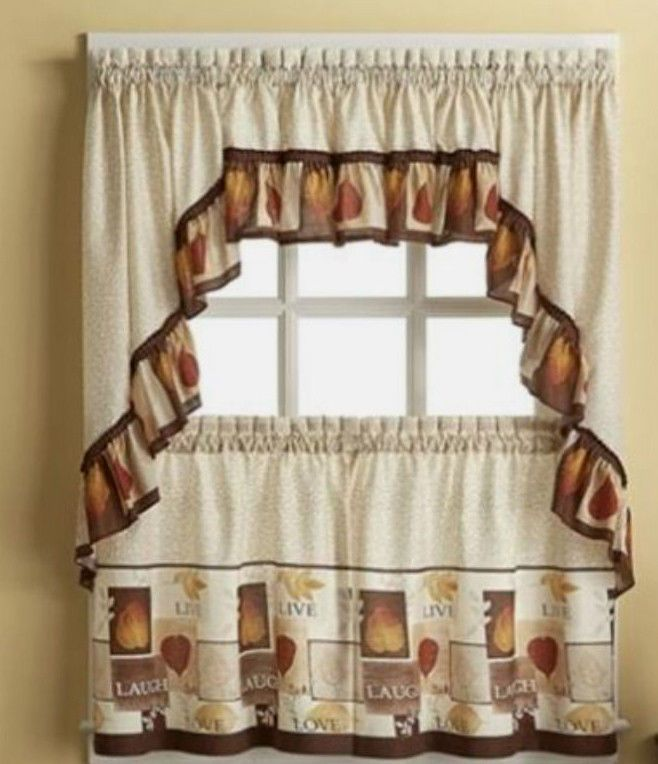 "3 Pc Set ""SENTIMENTS"" Live Laugh Love Tiers w/ Swag Valance 36x60 Home Decor #CHFIndustries #3piececurtainset"