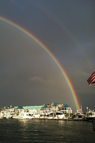 This Rainbow is so fitting for our beautiful Wrightsville Beach, NC Love dining here!