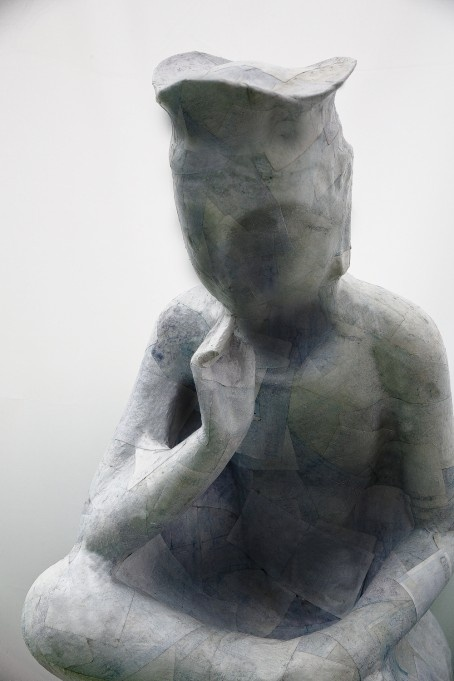 JE BAAK|HADA CONTEMPORARY | The Complex Question Fallacy 008 | sanded and bleached money on statue of Seated Maitreya in Meditation | 90x40x50 cm | 2012