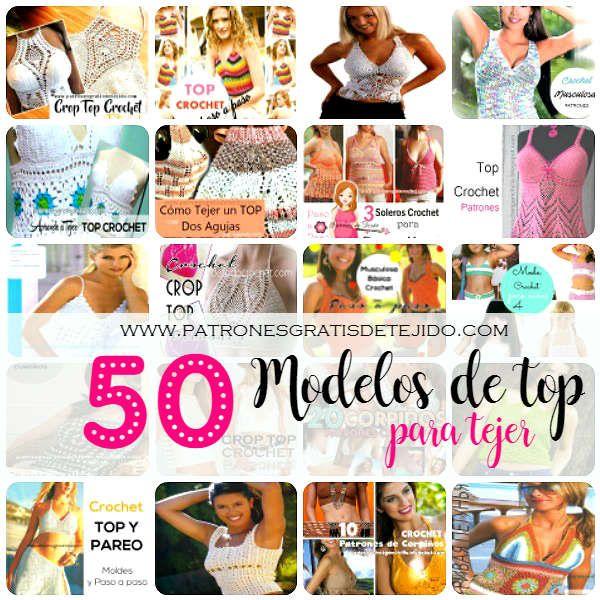 50 patrones de top crochet para mujer   Підбірка топів, схеми, відео МК
