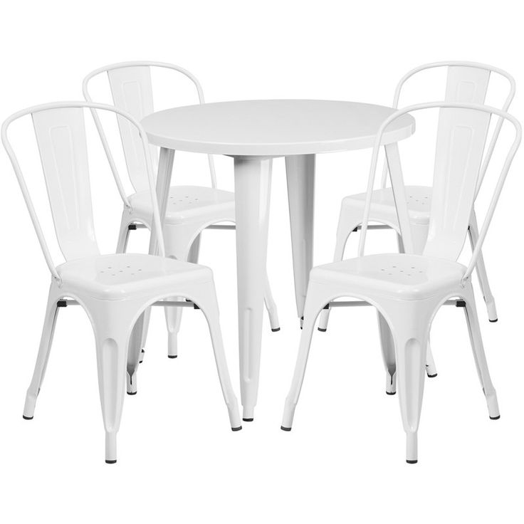 iHome Nicollet Round 30'' White Metal Indoor-Outdoor Table Set w/4 Cafe Chairs for Restaurant/Bar/Pub/Patio, Size 5-Piece Sets, Patio Furniture (Iron)
