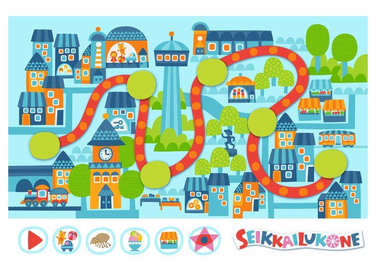 Seikkailukone   tulostettava   paperi   kartta   peli   tehtävä   kaupunki   lapset   game   map   city   children   kids   free printable   Pikku Kakkonen