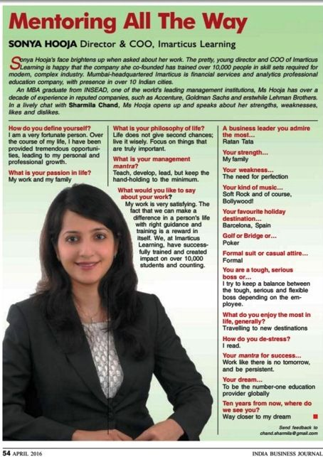 Sonya Hooja, Director and COO at Imarticus Learning was featured last month in the Indian #Business Journal. Read more on the company she co-founded that trained over 10,000 students