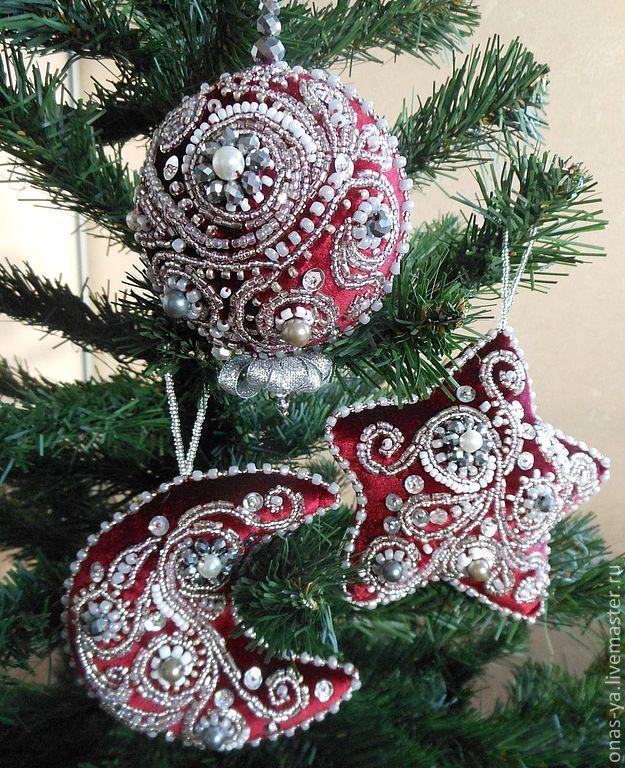 """Купить набор елочных игрушек """"морозная ночь"""" - бордовый, Новый Год, новогодний подарок"""