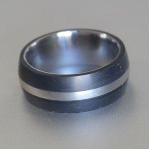 Titanium D shape with double black ring