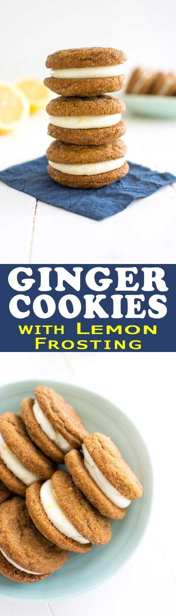 Soft ginger lemon cookies filled with tangy cream cheese frosting are the perfect cookie for the season and a unique addition to any cookie platter!