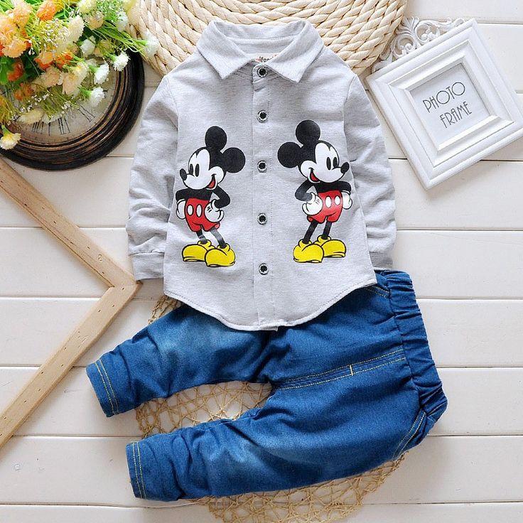 BibiCola Primavera otoño Niños mickey mouse Juegos de Ropa de bebé ropa de Los Muchachos Niño Caballero de La Manera de manga larga camiseta + jeans traje(China (Mainland))