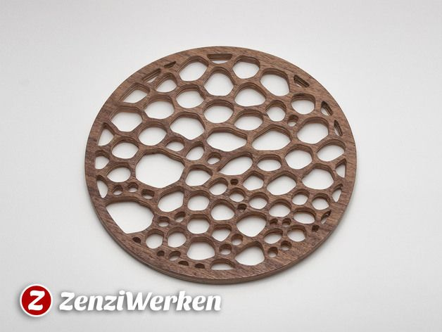 The cell structure, also known as voroni structure, gives a beautiful, natural design for a trivet. My build was done on a desktop cnc-machine by Stepcraft from 6mm birch plywood using a spiral-toothed 1.2 mm flute. I used a dark veneer on the topside. A laser cutter might be a good alternative tool to create one like this. Visit https://www.zenziwerken.de/en/Haushaltsgegenstaende/Topfuntersetzer for more trivet designs.