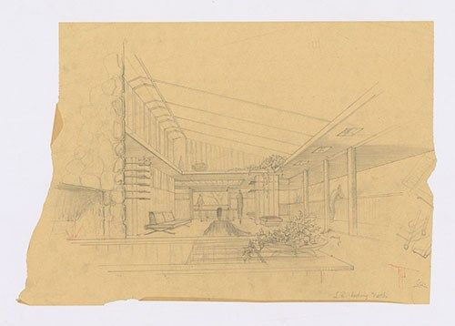 This circa 1955 drawing by Fay Jones is an early perspective sketch for the Fay and Mary Elizabeth Jones Residence, the home that he designed and built for his family in Fayetteville. The details of this sketch, showing the living room looking north, differ from the final design. (Image courtesy of the Fay Jones Collection, Arkansas Architectural Archives, Special Collections, University of Arkansas Libraries)