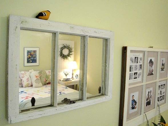 Diy Decorating With Old Window Frames | Old Window Mirror And Picture Frame  DIY Ideas .