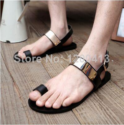 new summer 2014 men's genuine leather Roman sandals Korean fashion sandals hole shoes sandals men sandals personality US $22.50