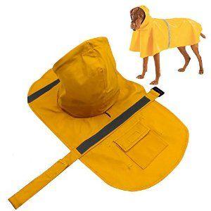 Amazon.com : Dog Raincoat, PETBABA Reflective Rain Jacket with Hood for Dogs…