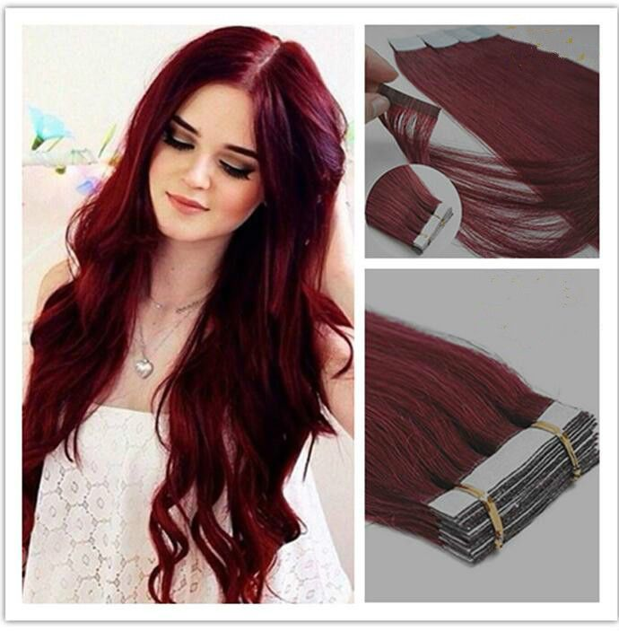 51 best extensions images on pinterest tape in hair extensions 99j 20pcs brazilian human hair thick pu silky straight tape in hair extensions pmusecretfo Gallery