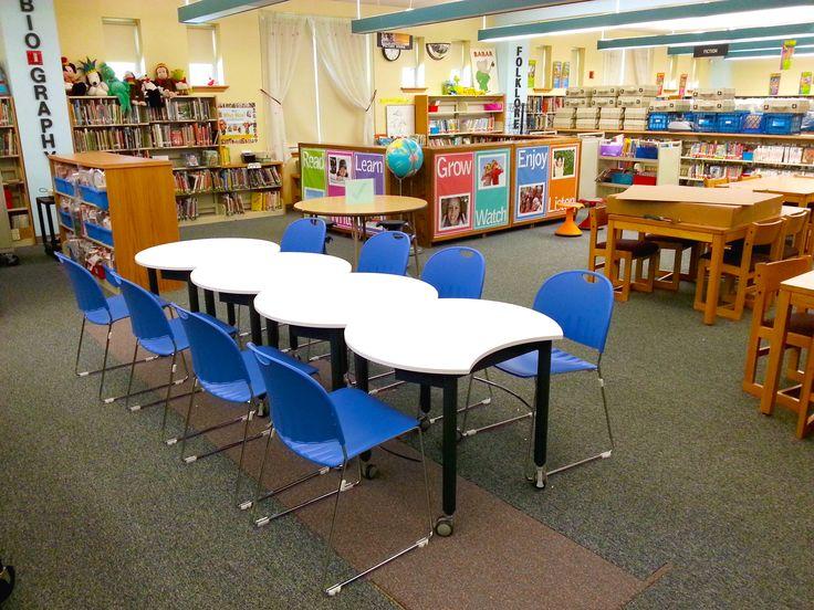 Learn, Grow, Enjoy. Mini Mobile tables with black finish legs. #classroom
