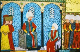 Barbaros Hayreddin Paşa, Kanuni Sultan Süleyman Han'ın huzurunda minyatürü. / Magnificent Suleiman & Ariadenvs Barbarvssa.