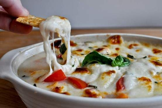 Hot Mozzarella Caprese Dip - Basil, Mozzarella And Roma Tomatoes, Chopped And Baked.  Add A Baguette. This looks delicious.