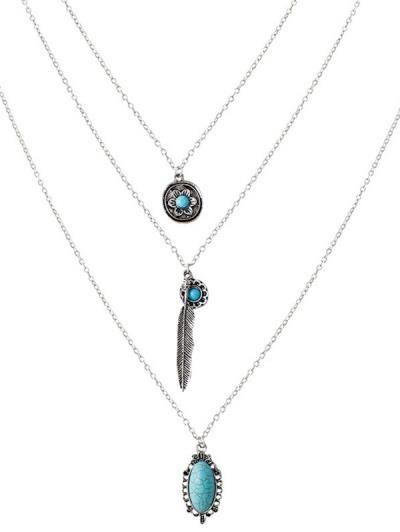 Artificial flor de la turquesa del collar en capas de la pluma